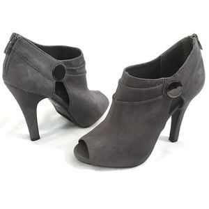 Gray Micro Suede Cutout Booties